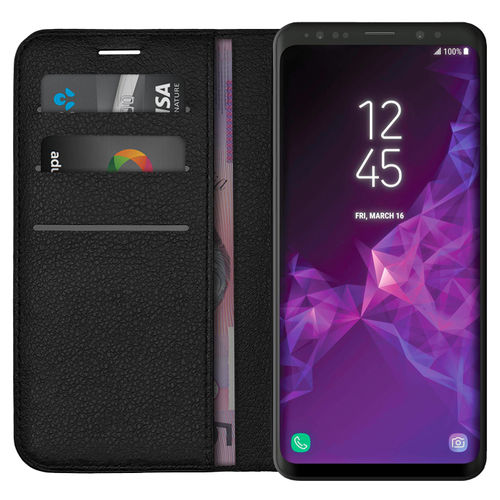 Leather Wallet & Card Holder Case for Samsung Galaxy S9+ (Black)
